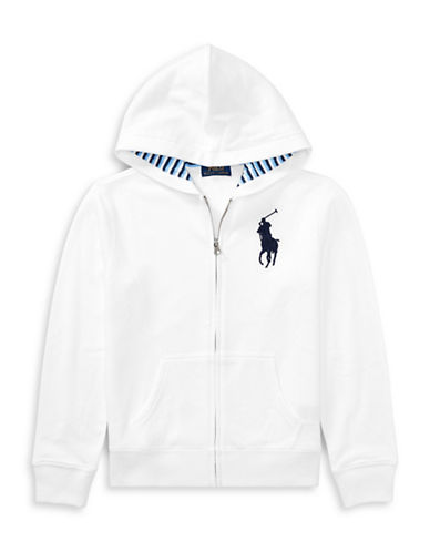 Ralph Lauren Childrenswear Cotton-Blend-Fleece Hoodie-WHITE-Small