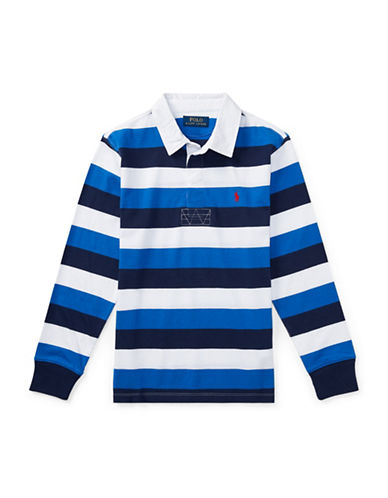 Ralph Lauren Childrenswear Striped Cotton Jersey Rugby Shirt-GREEN-Small