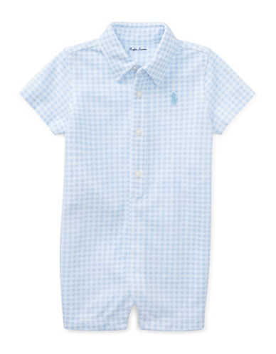 Ralph Lauren Childrenswear Gingham Cotton Mesh Shortall-BLUE/WHITE-6 Months