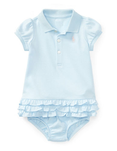 Ralph Lauren Childrenswear Ruffled Cotton Polo Dress and Bloomers Set-BLUE-12 Months
