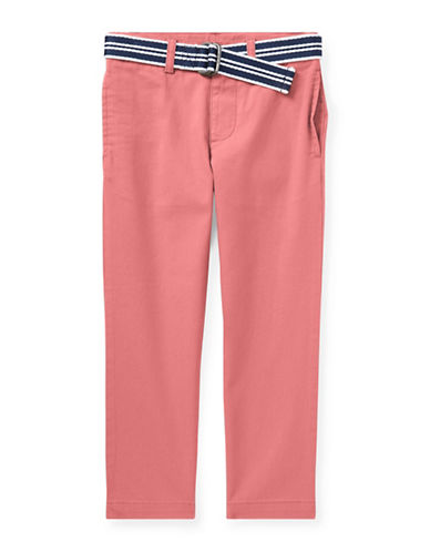 Ralph Lauren Childrenswear Belted Stretch Skinny Chino Pants-RED-3T