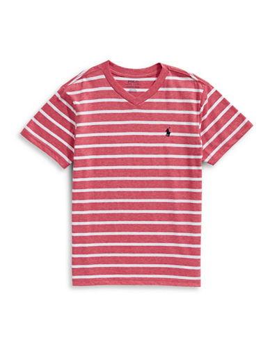 Ralph Lauren Childrenswear Striped Jersey V-Neck Tee-ORANGE-Small