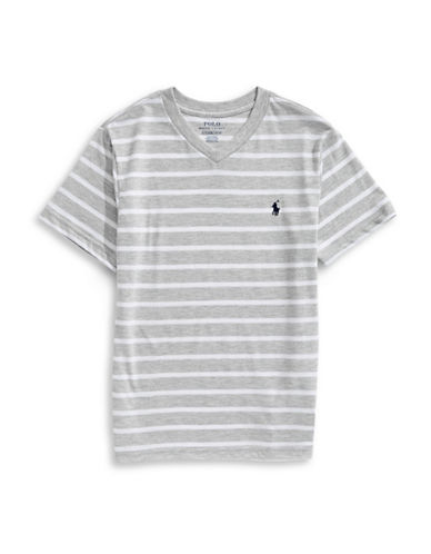 Ralph Lauren Childrenswear Striped Jersey V-Neck Tee-GREY HEATHER-Large