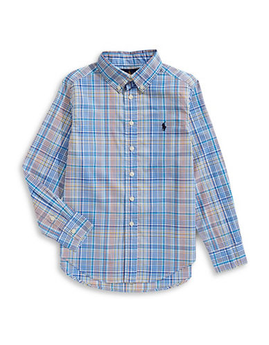 Ralph Lauren Childrenswear Cotton Poplin Collared Shirt-BLUE-Large