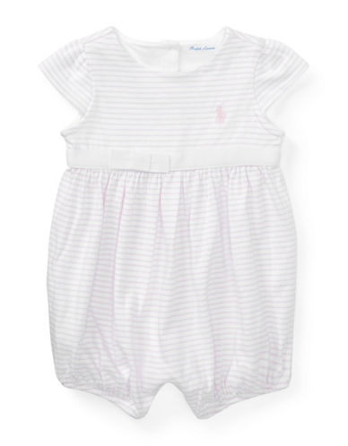 Ralph Lauren Childrenswear Striped Cotton Jersey Romper-WHITE-3 Months