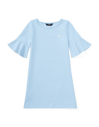 Ralph Lauren Childrenswear Ponte Bell-Sleeve Dress-BLUE-Small