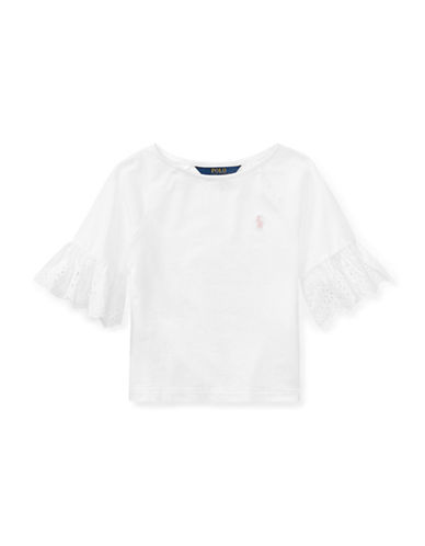 Ralph Lauren Childrenswear Eyelet-Cuff Jersey Top-WHITE-5