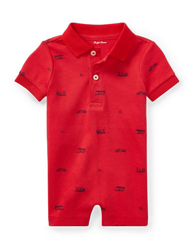 Ralph Lauren Childrenswear Cotton Interlock Polo Shortall-RED-12 Months