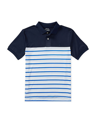 Ralph Lauren Childrenswear Striped Performance Lisle Polo-PURE WHITE-Medium 90030339_PURE WHITE_Medium