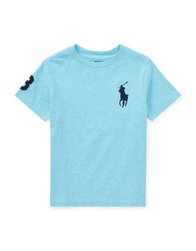 Ralph Lauren Childrenswear Crew Neck Cotton Jersey Tee-BLUE-2