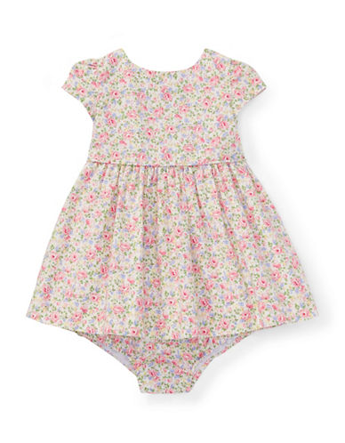 Ralph Lauren Childrenswear Floral Cotton Dress and Bloomers Set-PINK-18 Months