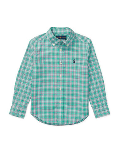 Ralph Lauren Childrenswear Plaid Stretch Cotton Sport Shirt-GREEN-6