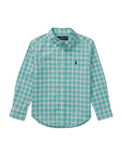 Ralph Lauren Childrenswear Plaid Stretch Cotton Sport Shirt-GREEN-7