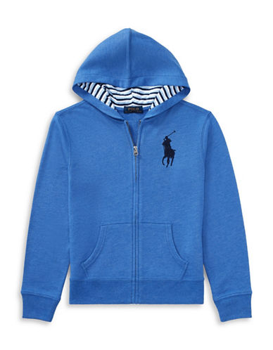 Ralph Lauren Childrenswear Cotton-Blend-Fleece Hoodie-BLUE-Small