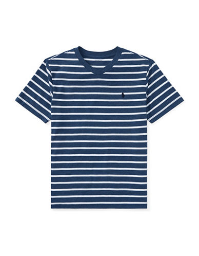Ralph Lauren Childrenswear Striped Jersey V-Neck Tee-BLUE HEATHER-X-Large