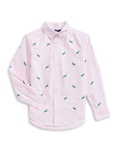Ralph Lauren Childrenswear Oxford Cotton Collared Shirt-PINK-Medium