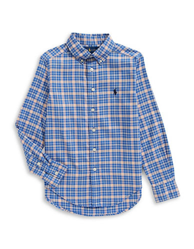 Ralph Lauren Childrenswear Performance Oxford Collared Shirt-BLUE-X-Large