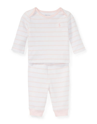 Ralph Lauren Childrenswear Striped Cotton Top and Stretch Pants Set-PINK-9 Months