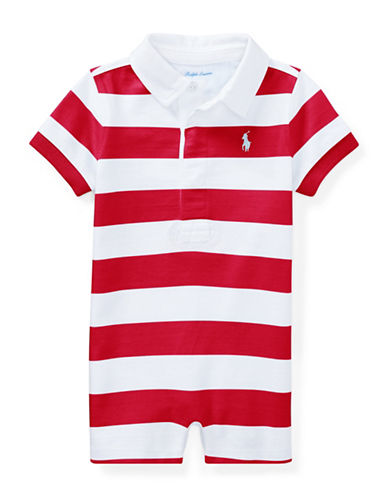 Ralph Lauren Childrenswear Striped Cotton Rugby Shortall-RED-18 Months