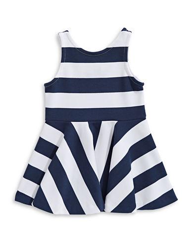 Ralph Lauren Childrenswear Ponte Stripe A-Line Dress-NAVY-2T