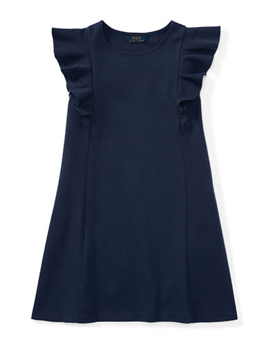 Ralph Lauren Childrenswear Ruffled Ponte Dress-NAVY-Large