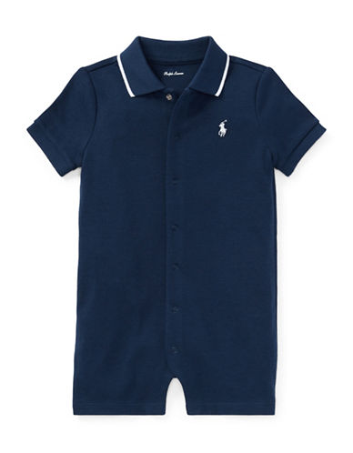Ralph Lauren Childrenswear Cotton Interlock Polo Shortall-NAVY-12 Months