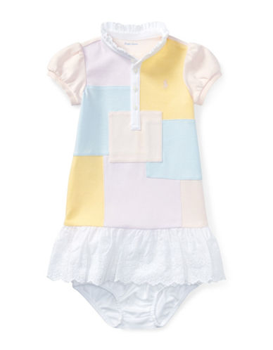 Ralph Lauren Childrenswear Patchwork Cotton Dress and Bloomers Set-PINK-6 Months