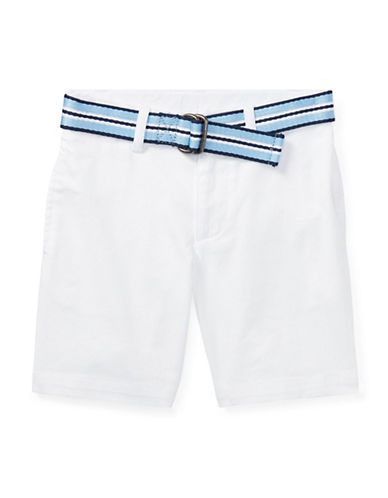 Ralph Lauren Childrenswear Slim Fit Belted Stretch Shorts-WHITE-7
