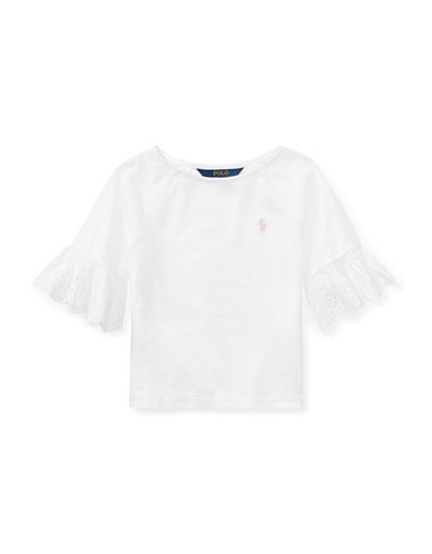 Ralph Lauren Childrenswear Eyelet-Cuff Jersey Top-WHITE-2T