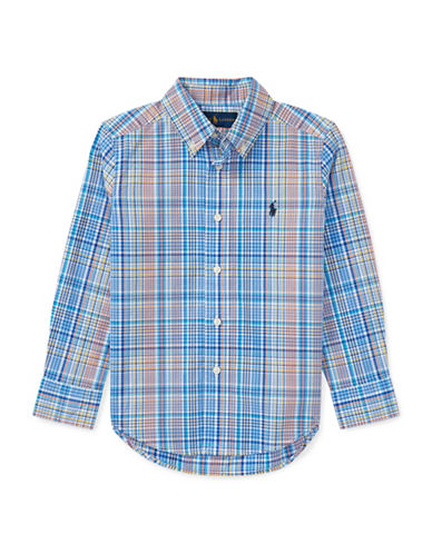 Ralph Lauren Childrenswear Plaid Stretch Cotton Sport Shirt-BLUE-2T