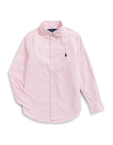 Ralph Lauren Childrenswear Gingham Cotton Collared Shirt-PINK-Medium