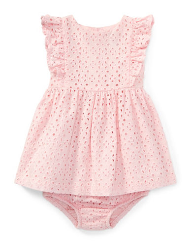 Ralph Lauren Childrenswear Eyelet Cotton Dress and Bloomers Set-PINK-3 Months