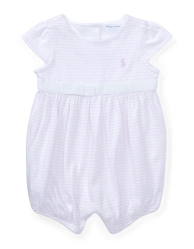 Ralph Lauren Childrenswear Striped Cotton Jersey Romper-LIGHT BLUE-9 Months