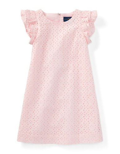 Ralph Lauren Childrenswear Eyelet Cotton Dress-PINK-2T