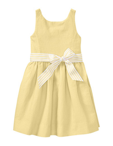 Ralph Lauren Childrenswear Pintucked Cotton Dress-YELLOW-6X