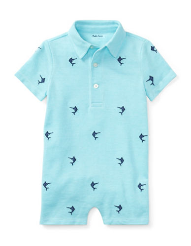 Ralph Lauren Childrenswear Knit Cotton Oxford Shortall-BLUE-12 Months