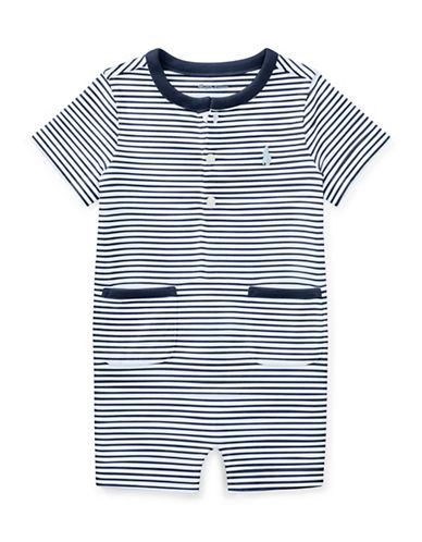 Ralph Lauren Childrenswear Striped Cotton Jersey Shortall-BLUE-6 Months