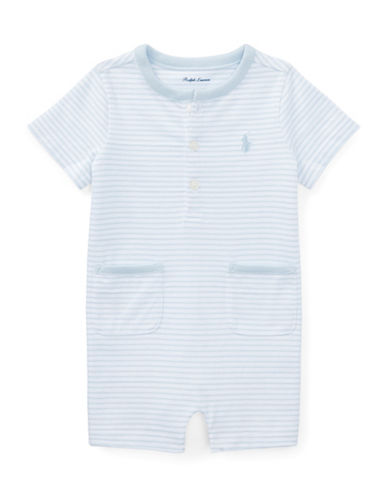 Ralph Lauren Childrenswear Striped Cotton Jersey Shortall-LIGHT BLUE-12 Months