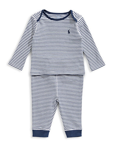 Ralph Lauren Childrenswear Two-Piece Stripe Cotton Top And Pants Set-BLUE-6 Months