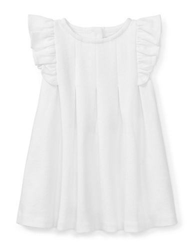 Ralph Lauren Childrenswear Ruffled Ponte Dress and Cotton Bloomers Set-WHITE-18 Months