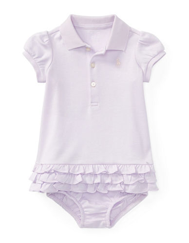 Ralph Lauren Childrenswear Ruffled Cotton Polo Dress and Bloomers Set-PURPLE-6 Months
