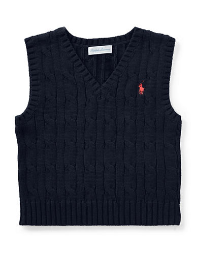 Ralph Lauren Childrenswear Cable-Knit Cotton Vest-BLUE-9 Months