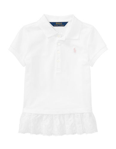 Ralph Lauren Childrenswear Eyelet-Hem Mesh Polo-WHITE-2T