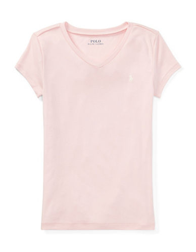 Ralph Lauren Childrenswear Cotton-Blend V-Neck T-Shirt-PINK-XLarge