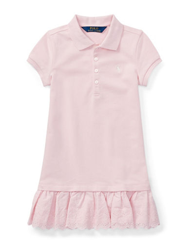 Ralph Lauren Childrenswear Eyelet-Hem Stretch Polo Dress-PINK-6