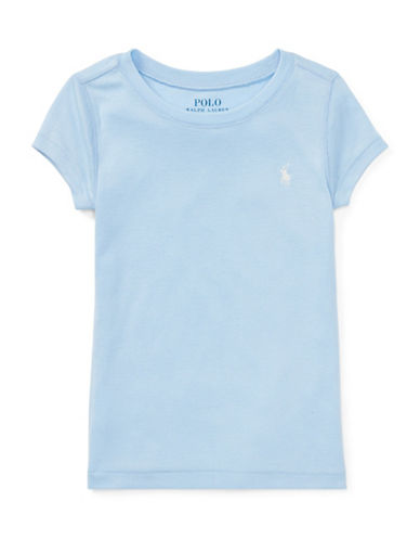 Ralph Lauren Childrenswear Girls Cotton-Blend Crewneck Tee-BLUE-5