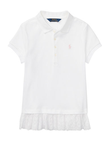 Ralph Lauren Childrenswear Eyelet-Hem Mesh Polo-WHITE-Small