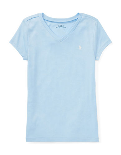 Ralph Lauren Childrenswear Cotton-Blend V-Neck T-Shirt-BLUE-Medium