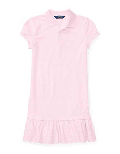 Ralph Lauren Childrenswear Eyelet-Hem Mesh Polo Dress-PINK-XL