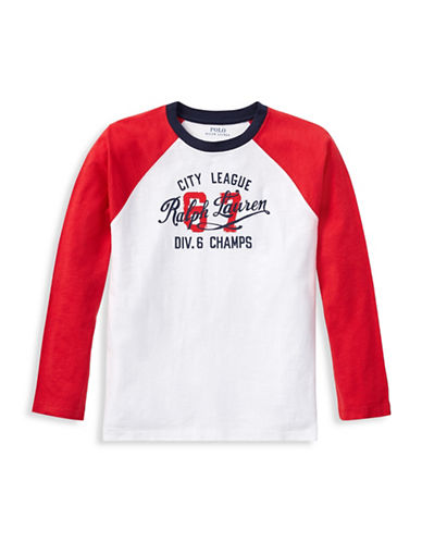 Ralph Lauren Childrenswear Graphic Raglan Cotton Tee-WHITE-Medium 89926940_WHITE_Medium